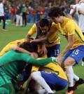 Pemain Brasil selebrasi usai mengalahkan Argentina di Copa America 2019
