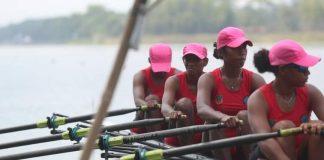 Perebutan medali di cabang olahraga dayung rowing Pekan Olahraga Pelajar Nasional (Popnas) XV/2019 berlangsung ketat
